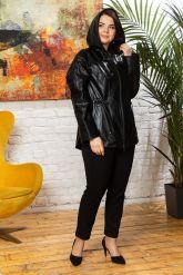 Женская кожаная куртка с капюшоном на кулиске. Фото 4.