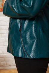 Женская кожаная куртка цвета морской волны. Фото 8.