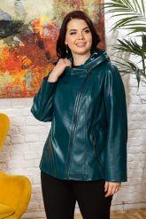 Женская кожаная куртка цвета морской волны. Фото 10.