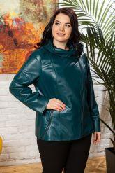 Женская кожаная куртка цвета морской волны. Фото 6.