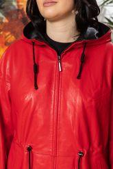 Кожаная куртка с капюшоном женская. Фото 2.