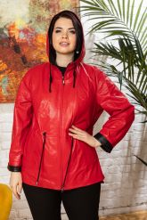Кожаная куртка с капюшоном женская. Фото 4.