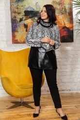 Нарядная женская кожаная куртка. Фото 4.