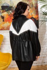 Женская кожаная куртка удлиненная. Фото 1.
