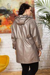 Удлиненная кожаная куртка с капюшоном. Фото 1.