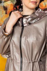 Удлиненная кожаная куртка с капюшоном. Фото 2.