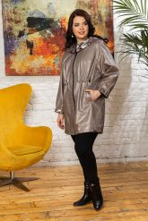 Удлиненная кожаная куртка с капюшоном. Фото 3.