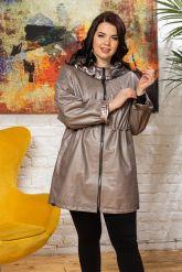 Удлиненная кожаная куртка с капюшоном. Фото 5.