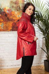 Стильная удлиненная кожаная куртка. Фото 3.