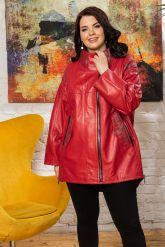 Стильная удлиненная кожаная куртка. Фото 4.