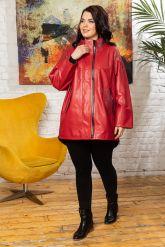 Стильная удлиненная кожаная куртка. Фото 8.