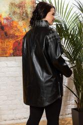 Удлиненная кожаная куртка черного цета. Фото 1.
