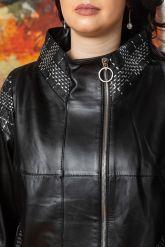 Удлиненная кожаная куртка черного цета. Фото 2.