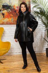 Удлиненная кожаная куртка черного цета. Фото 3.