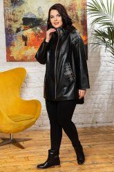 Удлиненная кожаная куртка черного цета. Фото 4.