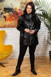Удлиненная кожаная куртка черного цета. Фото 5.