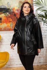 Удлиненная кожаная куртка черного цета. Фото 6.