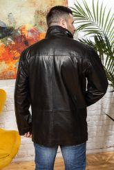 Удлиненная мужская кожаная куртка больших размеров. Фото 1.