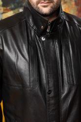 Удлиненная мужская кожаная куртка больших размеров. Фото 3.