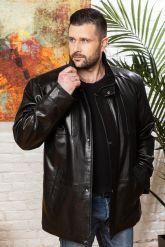 Удлиненная мужская кожаная куртка больших размеров. Фото 4.