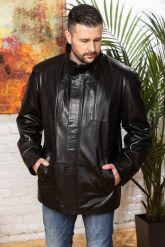Удлиненная мужская кожаная куртка больших размеров. Фото 5.