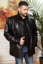 Удлиненная мужская кожаная куртка больших размеров. Фото 6.