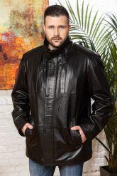 Удлиненная мужская кожаная куртка больших размеров. Фото 7.
