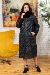 Комбинированное пальто с принтом FENDI. Фото 4.