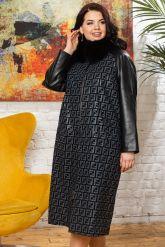 Комбинированное пальто с принтом FENDI. Фото 5.
