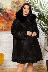 Трапециевидное пальто из замши. Фото 5.