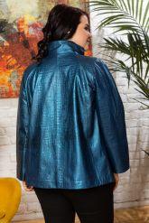 Синяя кожаная куртка для женщин. Фото 1.