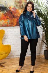 Синяя кожаная куртка для женщин. Фото 3.