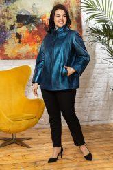 Синяя кожаная куртка для женщин. Фото 4.