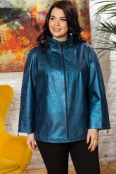 Синяя кожаная куртка для женщин. Фото 5.
