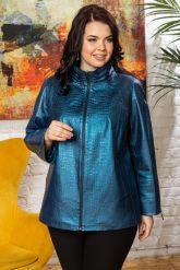 Синяя кожаная куртка для женщин. Фото 6.