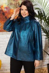 Синяя кожаная куртка для женщин. Фото 7.