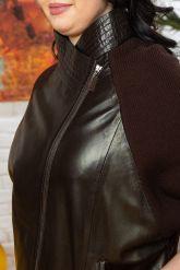 Весенняя кожаная куртка с трикотажными рукавами. Фото 2.