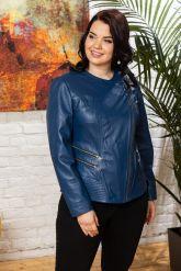 Модная куртка больших размеров небесного цвета. Фото 7.