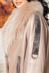 Удлиненная кожаная куртка с мехом енота. Фото 2.