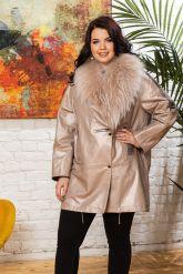 Удлиненная кожаная куртка с мехом енота. Фото 4.