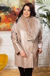 Удлиненная кожаная куртка с мехом енота. Фото 5.