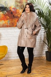 Удлиненная кожаная куртка с мехом енота. Фото 6.