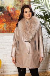 Удлиненная кожаная куртка с мехом енота. Фото 7.