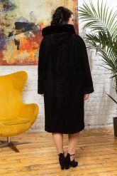 Классическое замшевое пальто с капюшоном. Фото 1.
