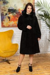 Классическое замшевое пальто с капюшоном. Фото 3.