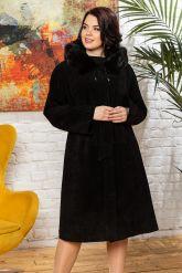 Классическое замшевое пальто с капюшоном. Фото 4.