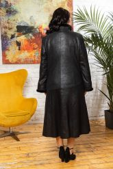 Кожаное пальто больших размеров HuremViz. Фото 1.