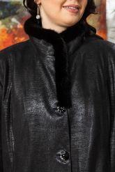 Кожаное пальто больших размеров HuremViz. Фото 2.