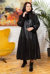Кожаное пальто больших размеров HuremViz. Фото 3.