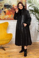 Кожаное пальто больших размеров HuremViz. Фото 4.